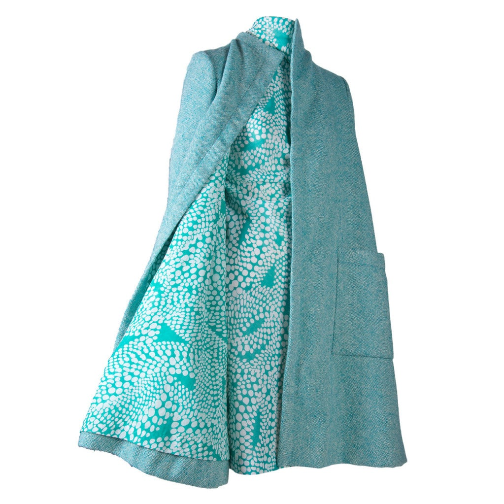Pauline Trigere Aqua and White Print Two Piece Coat and Matching ...