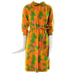 1970's Goldworm Lightweight Virgin Wool Flower Power Dress