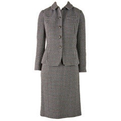 Rena Lange Two Piece Brown & Light Blue Check Skirt Suit