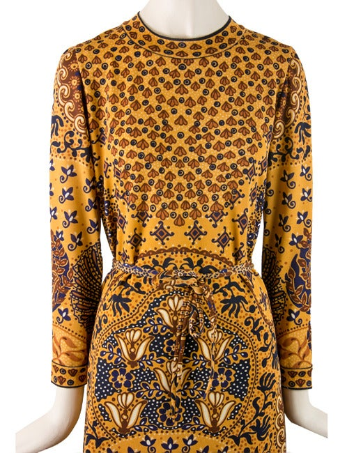 1960's Goldworm Brown & Gold Print Long sleeve Dress Size 16 2