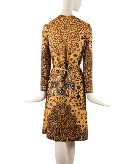 Women's 1960's Goldworm Brown & Gold Print Long sleeve Dress Size 16 For Sale