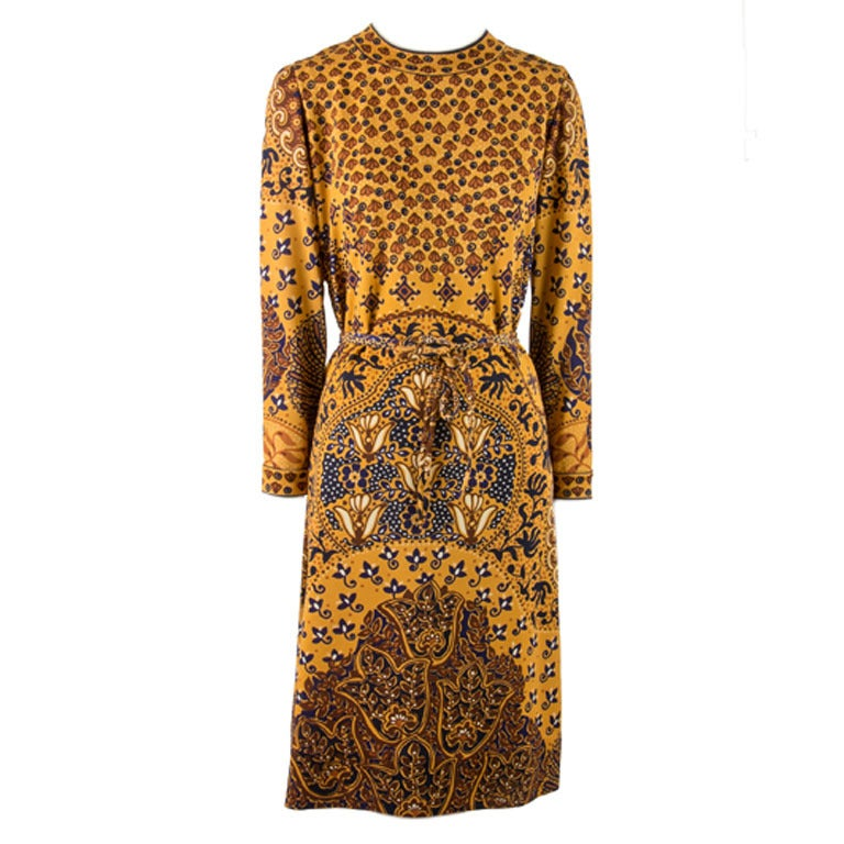 1960's Goldworm Brown & Gold Print Long sleeve Dress Size 16 1