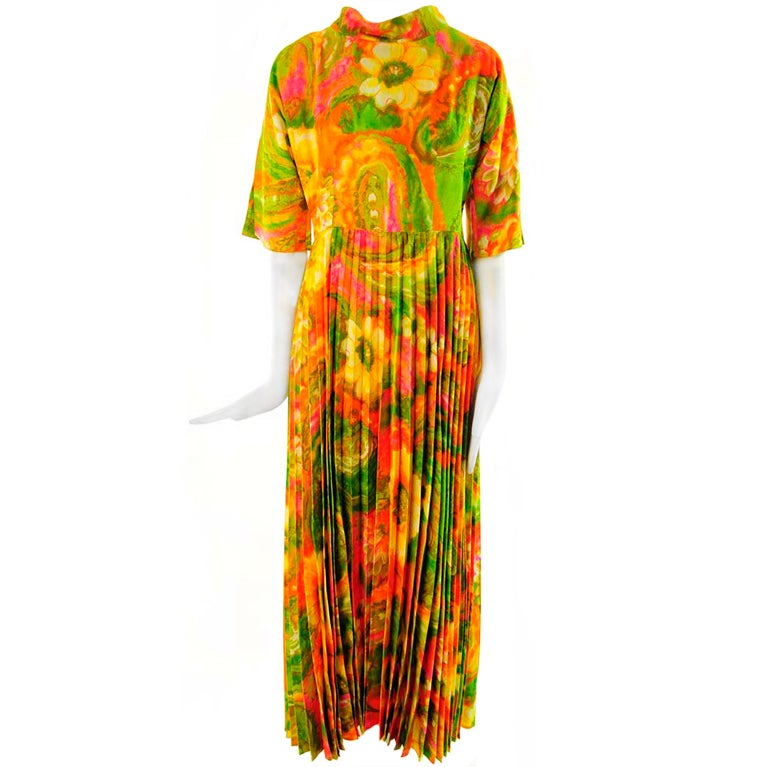 1960's Krist Abstract Floral Maxi Dress