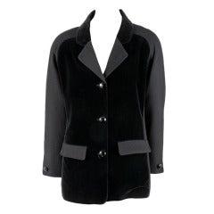 Vintage Courreges Black Velvet & Wool Blazer Coat Jacket Size 40