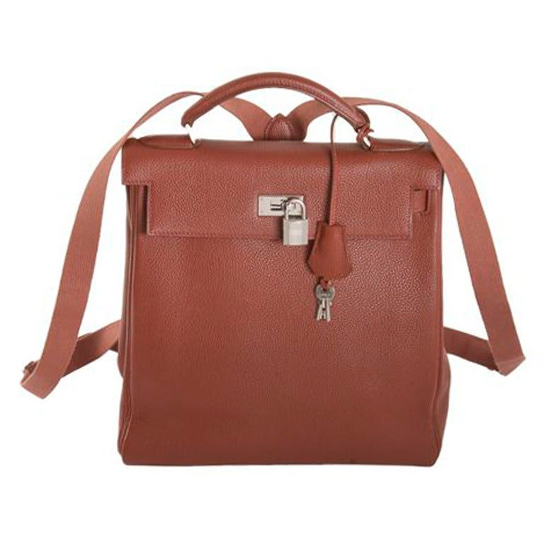 Hermes 28cm Etrusque Fjord Leather Kelly Ado Backpack at 1stdibs