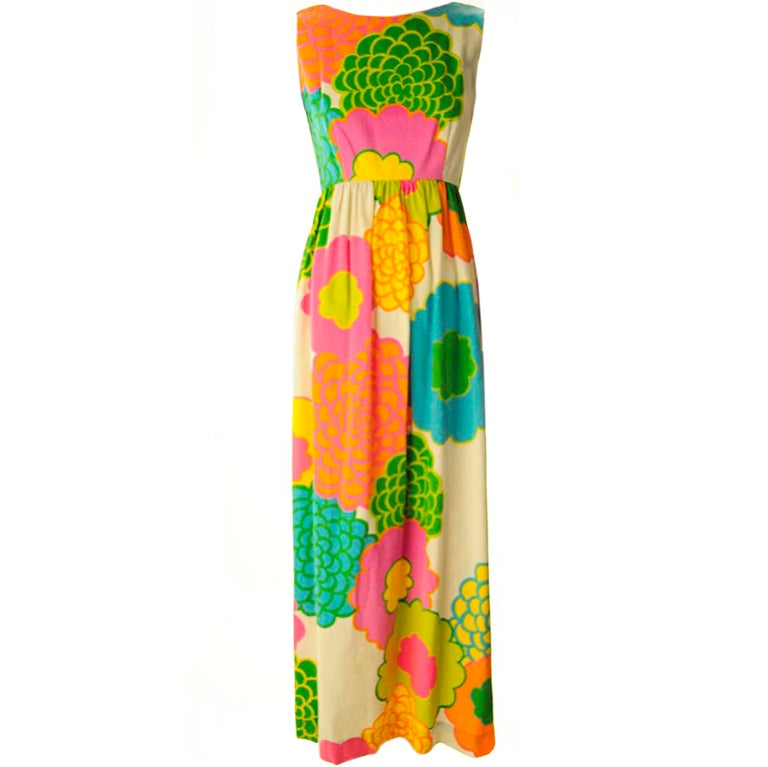 Malia Hawiian Maxi Dress in Neon Floral 1