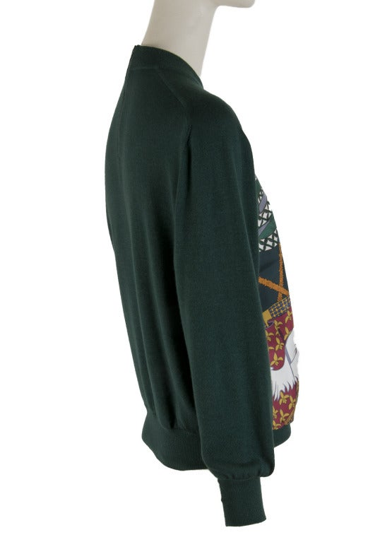 Black Hermes Sweater - Cashmere / Silk - Hunter Green -  Size 36 For Sale