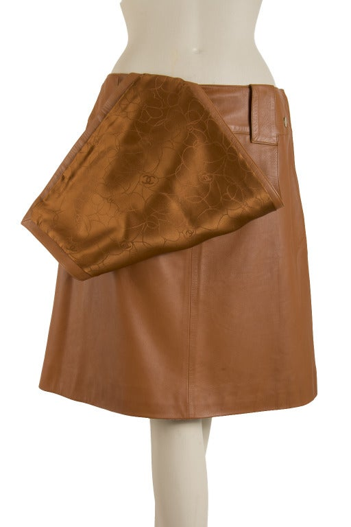 chanel butterscotch soft lambskin leather skirt with front