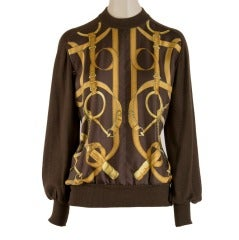 Hermes Brown Silk Sweater with Gold Tack Design Print Size 38