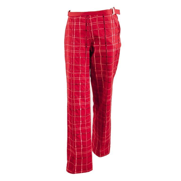 Bottega Veneta Red & Red Plaid Embroidered Pants Matching Purse Size 4 Runway