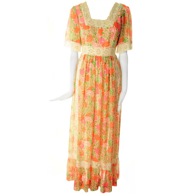 "Rare 1968 Lilly Pulitzer ""The Lilly"" Pink Floral Peasant Maxi Dress"