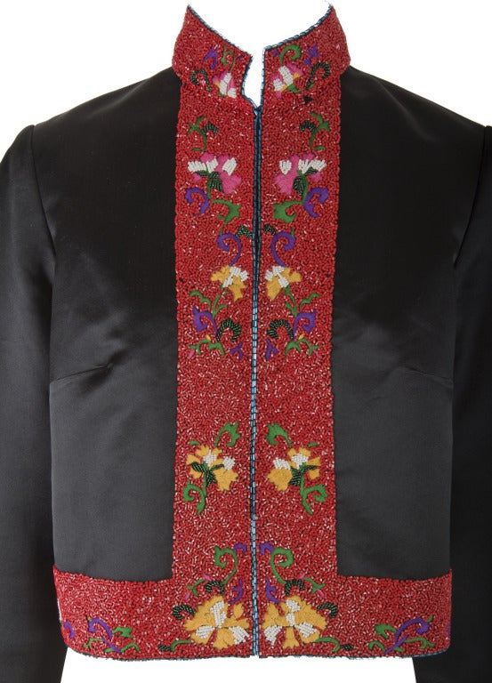 Shanghai Tang Black & Red w/Embroidery and Beading Mandarin Jacket 2