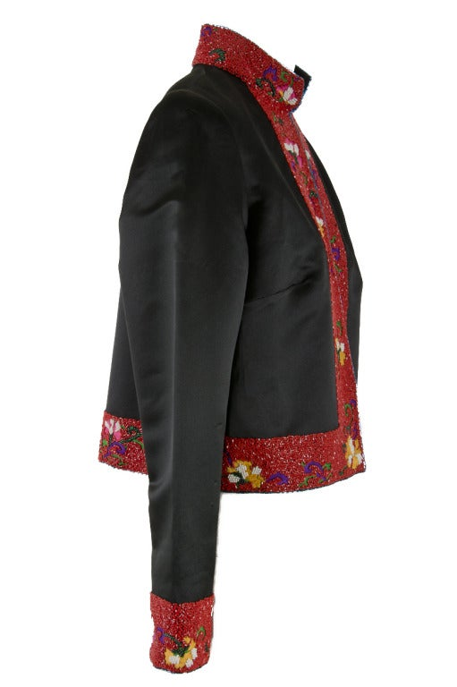Shanghai Tang Black & Red w/Embroidery and Beading Mandarin Jacket In Excellent Condition For Sale In Boca Raton, FL