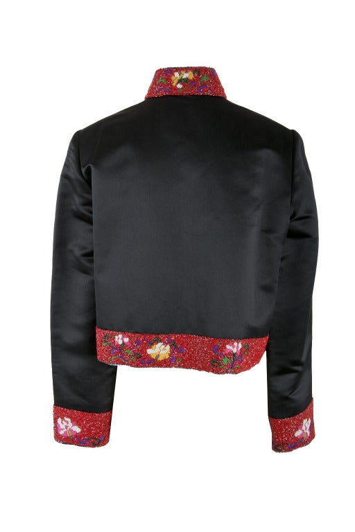 Women's Shanghai Tang Black & Red w/Embroidery and Beading Mandarin Jacket For Sale