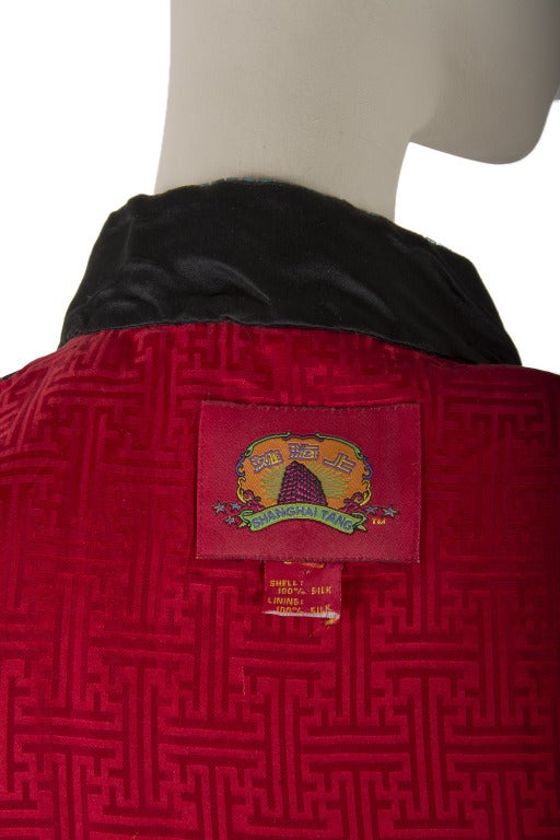 Shanghai Tang Black & Red w/Embroidery and Beading Mandarin Jacket For Sale 1