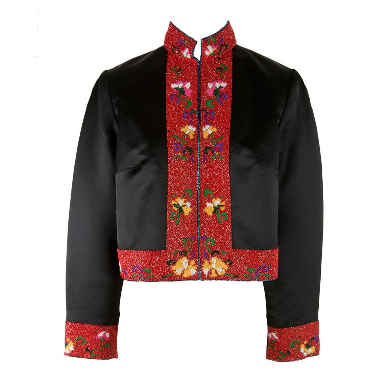 Shanghai Tang Black & Red w/Embroidery and Beading Mandarin Jacket For Sale