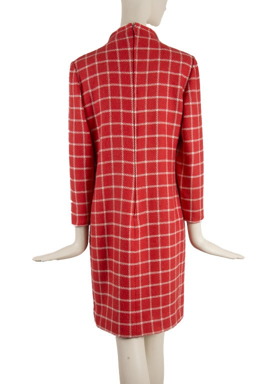 Women's 1960's Valentino Red Wool Dress with White Plaid Print & Collar For Sale