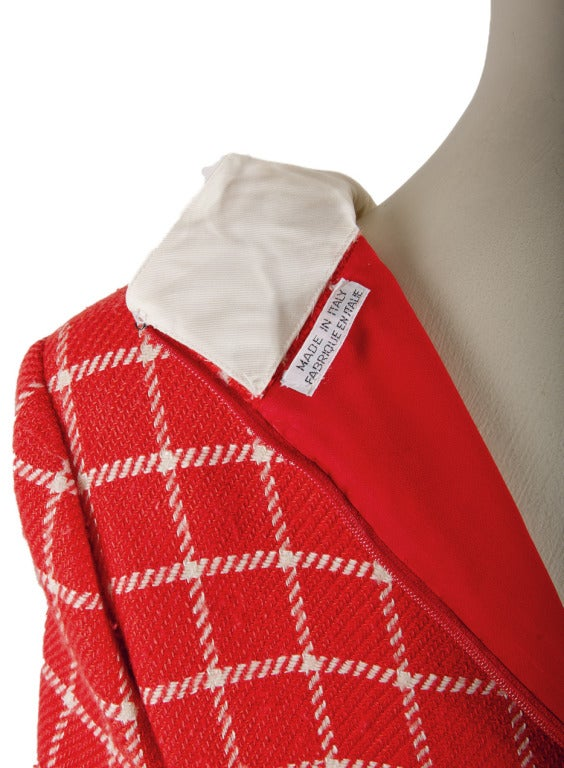 1960's Valentino Red Wool Dress with White Plaid Print & Collar For Sale 1