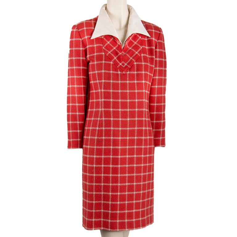 1960's Valentino Red Wool Dress with White Plaid Print & Collar For Sale