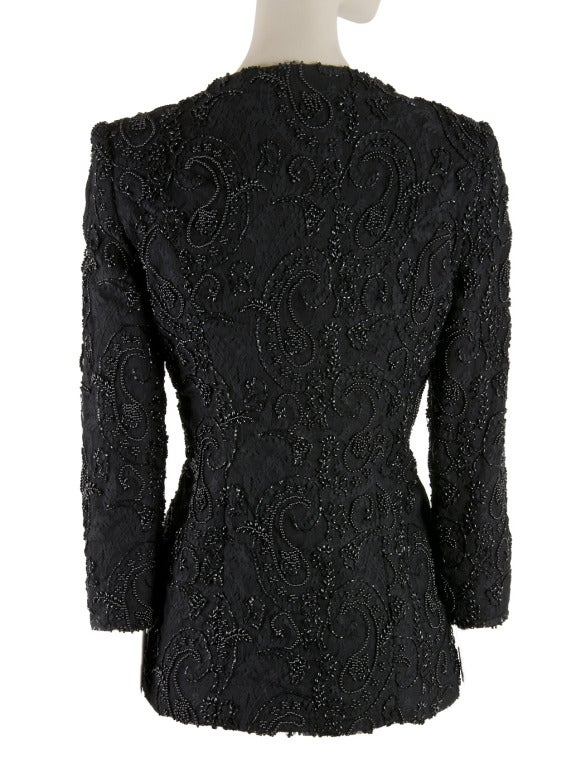 Vicky Tiel Couture Black Lace And Paisley Beaded Evening