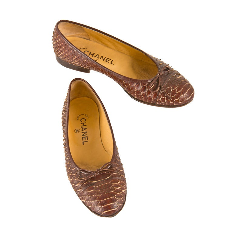 Chanel Brown Python Ballerina Flats