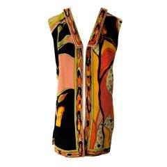 1970's Emilio Pucci Vibrant Cotton Velvet Sleeveless Vest Jacket