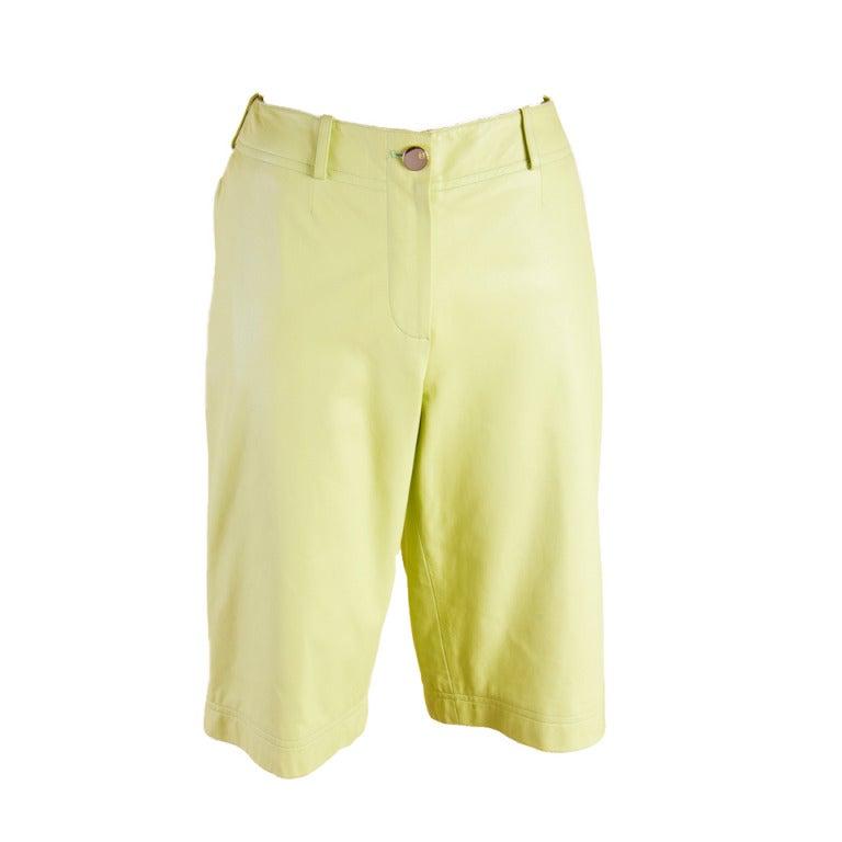 Chanel Leather Shorts Mint Green Lambskin