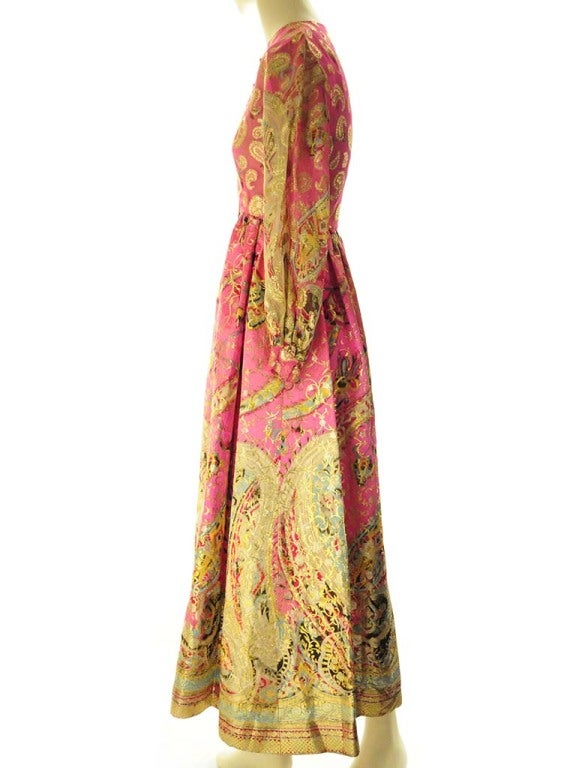 Orange Oscar de La Renta Pink Paisley Even Dress For Sale