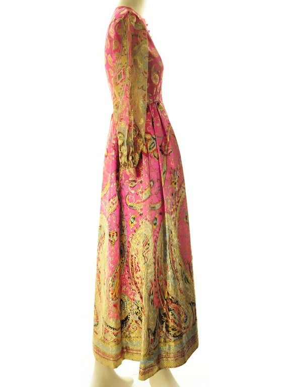 Women's Oscar de La Renta Pink Paisley Even Dress For Sale