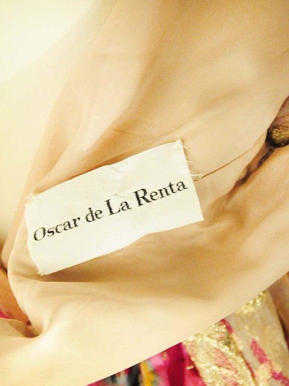 Oscar de La Renta Pink Paisley Even Dress For Sale 3