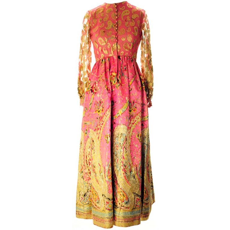 Oscar de La Renta Pink Paisley Even Dress For Sale