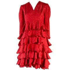 1950's Vintage Hattie Carnegie Red Tiered Ruffle Dress