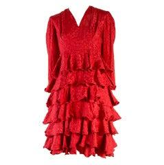 1950's Vintage Hattie Red Tiered Ruffle Dress