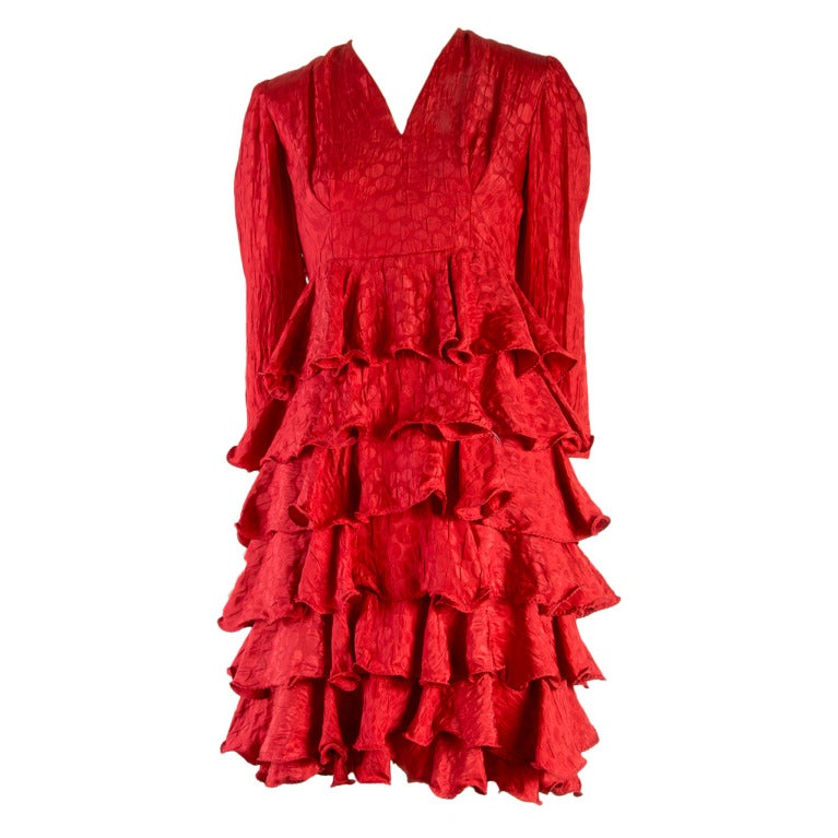 1950's Vintage Hattie Red Tiered Ruffle Dress