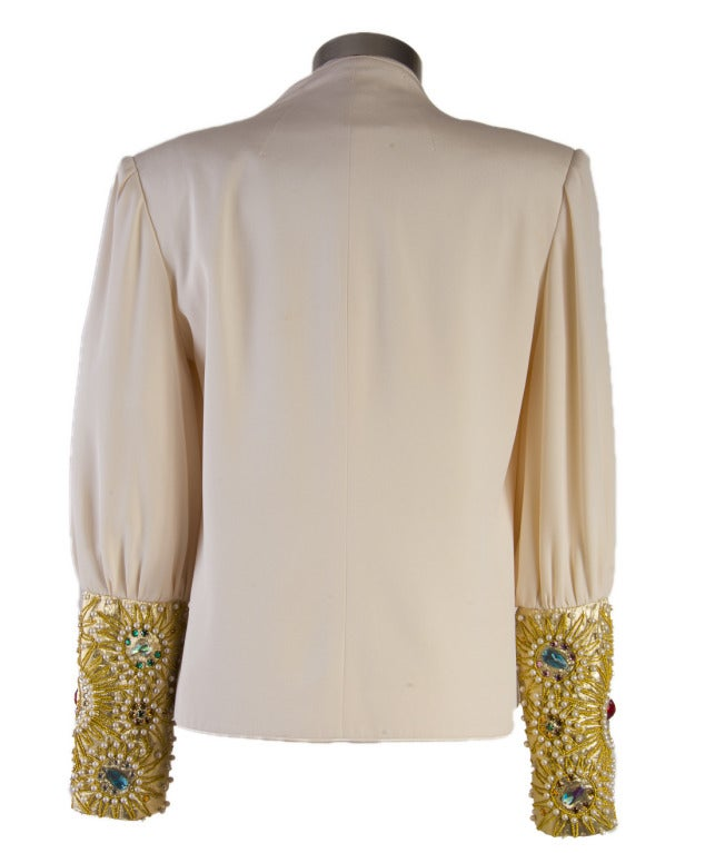 David Hayes Creme Beaded Silk Evening Jacket Size 8 In Excellent Condition For Sale In Boca Raton, FL
