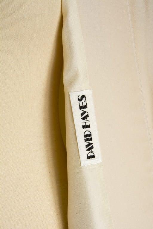 David Hayes Creme Beaded Silk Evening Jacket Size 8 5