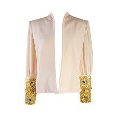 David Hayes Creme Beaded Silk Evening Jacket Size 8