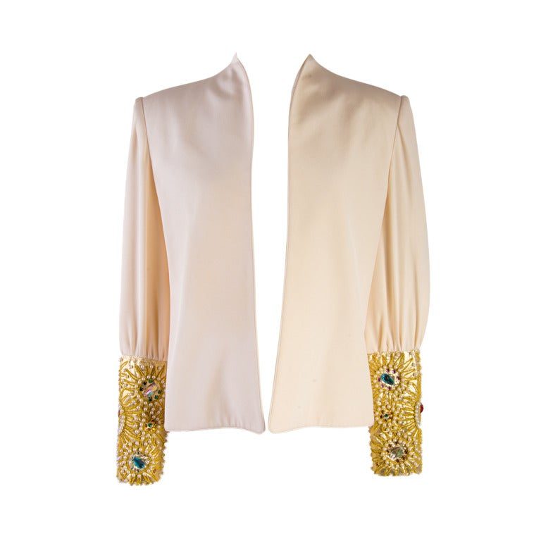 David Hayes Creme Beaded Silk Evening Jacket Size 8 For Sale