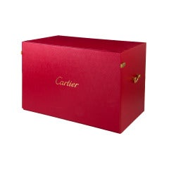 Cartier Red Wooden Jewelry Watch Display Case, Two Extra Boxes + Book