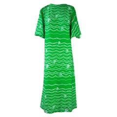 1960's Vintage Op Art Green Stripe Maxi Dress