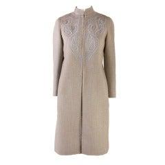 Oscar de la Renta Blue & Brown 2PC Skirt Suit