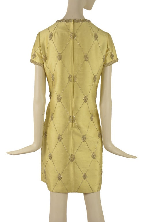 1960's Vintage Gino Charles Chartreuse Two Piece Dress & Matching Jacket Size 10 3