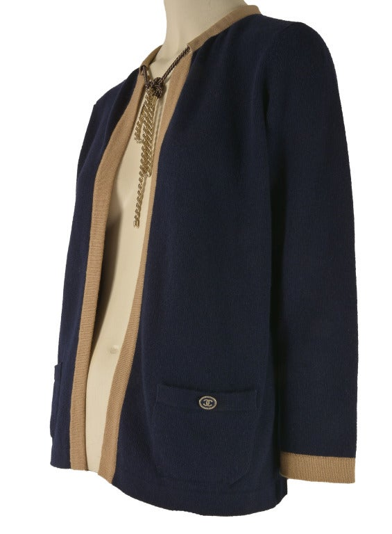 Black NEW Chanel Navy Blue Tan Trim Cardigan Size 40  Cashmere For Sale