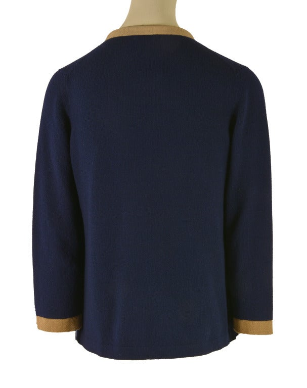 NEW Chanel Navy Blue Tan Trim Cardigan Size 40  Cashmere In New never worn Condition For Sale In Boca Raton, FL