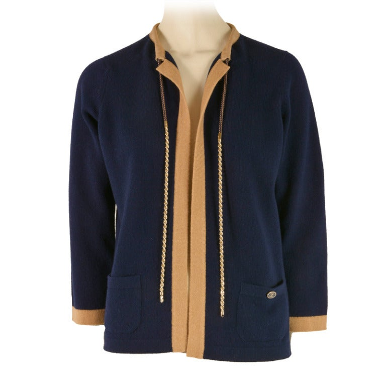 NEW Chanel Navy Blue Tan Trim Cardigan Size 40  Cashmere For Sale
