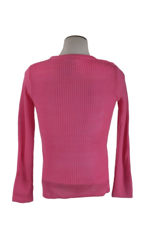 70's Vintage Courreges Hot Pink Long Sleeve Knit Pullover Sweater ...
