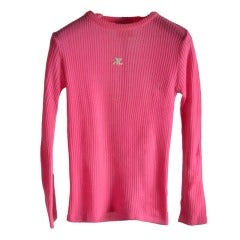 70's Vintage Courreges Hot Pink Long Sleeve Knit Pullover Sweater