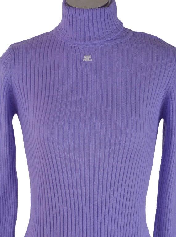 New Courreges Purple Knit Turtleneck Long Sleeve Sweater Size ...