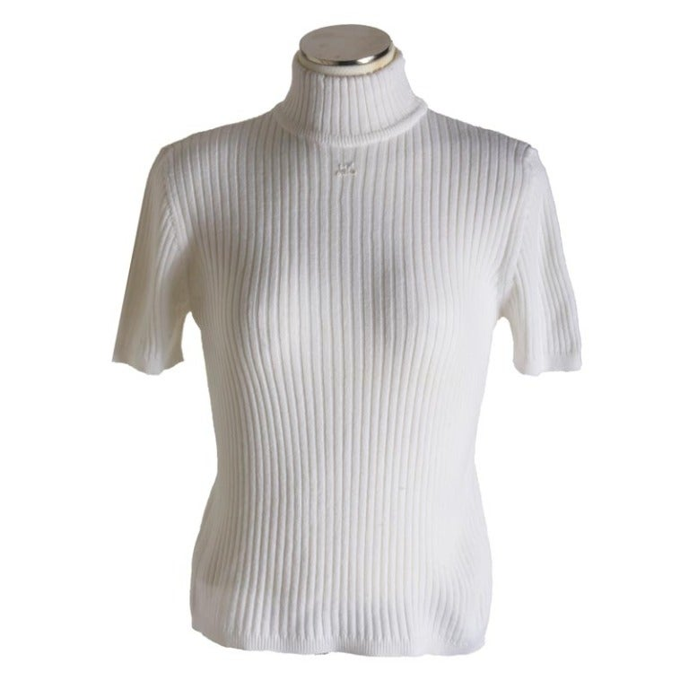 New Courreges White Knit Mock Turtleneck Short Sleeve Sweater For ...