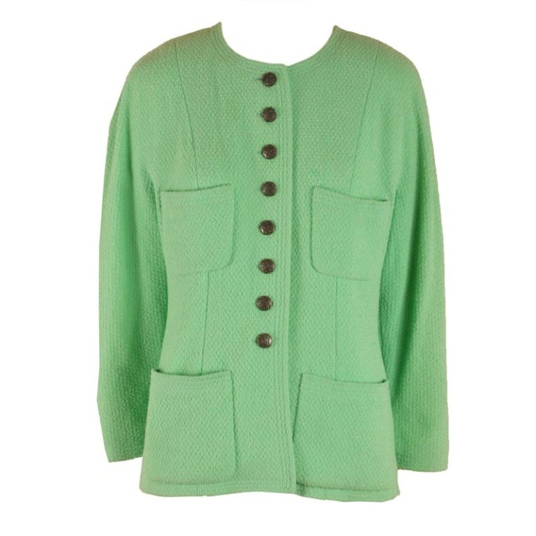 Chanel Green Wool Box Jacket with Four Pockets